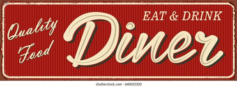 Vintage Diner metal sign.