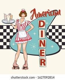 Vintage Diner metal sign in traditional American style with waitress on roller skates.