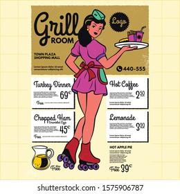 Vintage diner poster menu template. Retro waitress on roller skates. drive-in waitress. 50's diner waitress