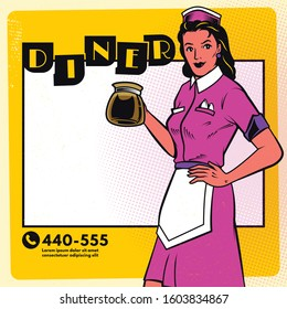 Vintage diner poster menu template. Retro waitress with coffee