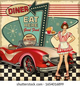 Vintage Diner poster in traditional American style with waitress on roller skates.