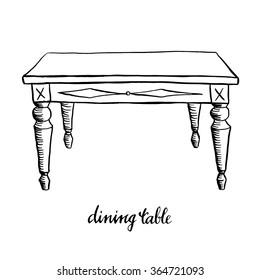Vintage dining table/ Vintage furniture/ Interior design elements/ Hand drawn ink sketch illustration isolated on white background