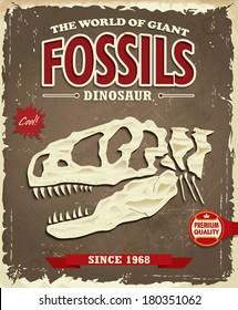 Vintage Dinosaur fossil poster design