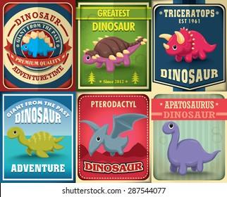 Vintage dinosaur poster design set