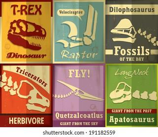 Vintage Dinosaurs Fossil set poster design