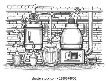 Vintage distillation equipment. Old sketch distil apparatus distilled whisky copper tank vintage metal moonshine, vector illustration