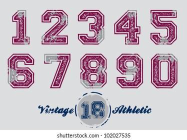 Vintage Distressed Athletic Jersey Numbers