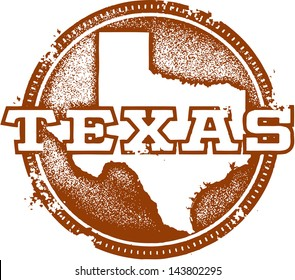Vintage Distressed Texas USA State Stamp