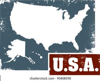 Vintage Distresses USA Sign