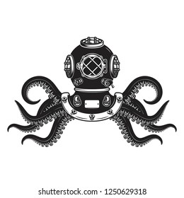 Vintage diver helmet with octopus tentacles. Design element for poster, t shirt, sign, label, logo. Vector illustration