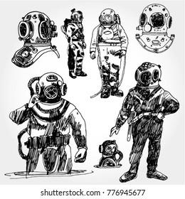 Vintage Diver Illustration Hand Drawn