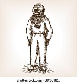 Vintage diver man with diving dress sketch style vector illustration. Old hand drawn engraving imitation. Vintage antique diver