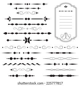 Vintage dividers and ornaments, calligraphic design elements and page decoration, retro style set, black isolated on white background, vector illustration.