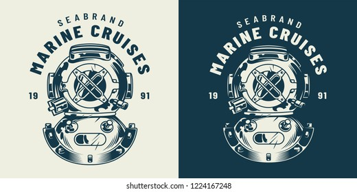 Vintage diving label concept with diver helmet in monochrome style isolated vector illustration