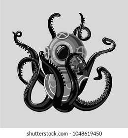 69c37cda9eff Vintage diving suit with octopus. Retro scuba helmet and tentacles. Tattoo  style.