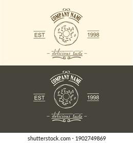 vintage donut logo badge , vintage bakery logo badge and labels for retro design