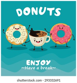Vintage donuts & coffee cartoon character poster design
