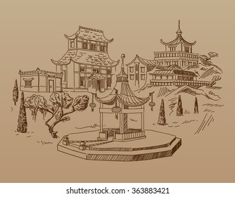 Vintage Doodle Composition of Typical Chinese Houses and Picturesque Mountain Landscape