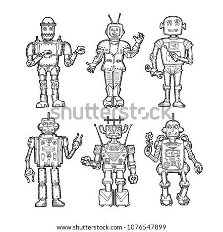 Vintage Doodle Sketch Robots Set Printable Stock Vector Royalty