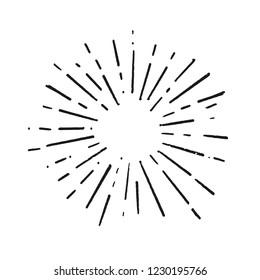 Vintage doodle Sunburst Explosion Hand drawn Design Element Fireworks Black Rays