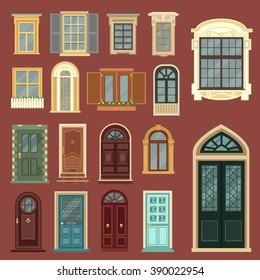 Vintage Doors. Detailed Windows. European Architecture. Architectural Details. Building Facade Elements. Vector illustration. Flat style