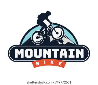 Vintage Downhill Bike Logo Badge Illustration