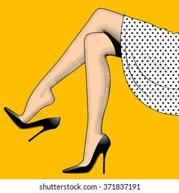 Vintage drawing of beautiful woman legs in high-heeled black shoes and white skirt on yellow background. Fashion concept. Vector illustration