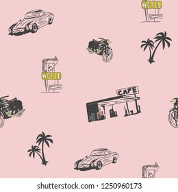 Vintage drawing pattern and repeating Seamless. Classic car, retro style, motel sing, palm tree pattern and textile design. Pink pastel shades, vector illustration. Fashionable print.