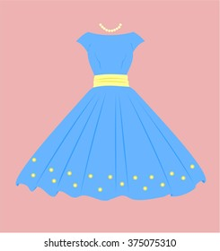 Vintage Dress, Blue with yellow flowers, pink background