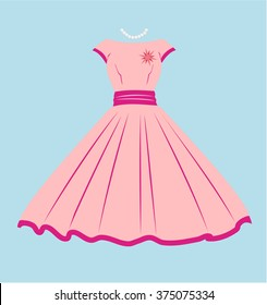 Vintage Dress, Pink and violet, blue background