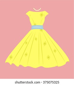 Vintage Dress, Yellow with blue design, pink background