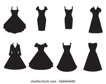 Vintage dresses silhouette vector set. Black retro dresses illustration