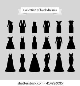 Vintage dresses vector. Black retro dresses silhouettes