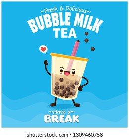 Vintage drink poster design with bubble milk tea, pearl milk tea, character.