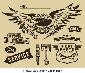 Vintage eagle and auto-moto parts