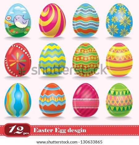 Vintage Easter Egg Design Set StockVektorgrafik Lizenzfrei Awesome Easter Eggs Decoration Design
