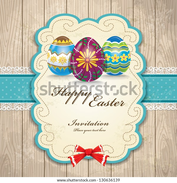 Vintage easter egg invitation design