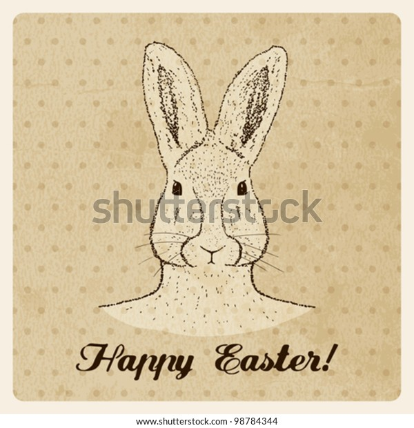 Vintage Easter greeting card with bunny