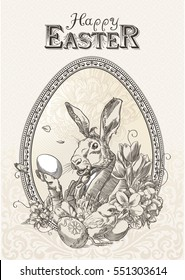 Vintage easter postcard with rabbit, with little chicken and flowers, framed oval frame, in sepia