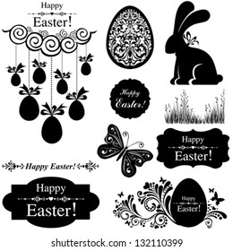 Vintage Easter Set. Collection of design elements isolated on White background.  Vector illustration