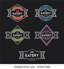 Vintage eatery restaurant labels and badges