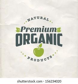 Vintage eco green sticker label of healthy organic natural farm fresh food
