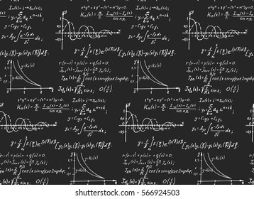 Vintage education background. Mathematical law theory and formula equation on blackboard. Vector hand-drawn seamless pattern.