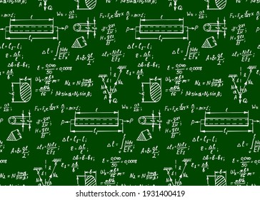Vintage education background. Trigonometry law theory and mathematical formula equation on chalkboard. Vector hand-drawn seamless pattern.