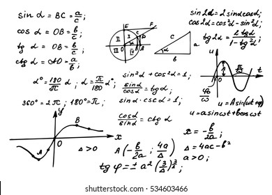 Vintage education background. Trigonometry law theory and mathematical formula equation on whiteboard. Vector hand-drawn illustration.