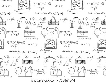 Vintage education and scientific background. Physics law theory and mathematical formula equation on whiteboard. Vector hand-drawn seamless pattern.
