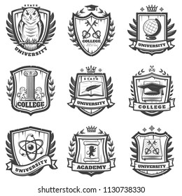 Vintage educational coat of arms set with university college and academy elements isolated vector illustration