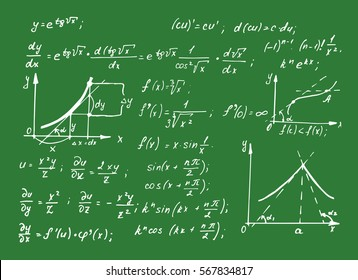 Vintage educational and scientific background.  Math law theory and mathematical formula equation on school board. Vector hand-drawn illustration.