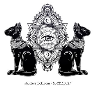 Vintage egyptian cat with eye of god Horus - symbol of goddess Bastet. Ornamental composition with sacred geometry eye. Alchemy, religion, spirituality, occultism. Isolated vector illustration.