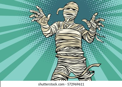 Vintage Egyptian mummy horror movie and Halloween, pop art retro vector illustration